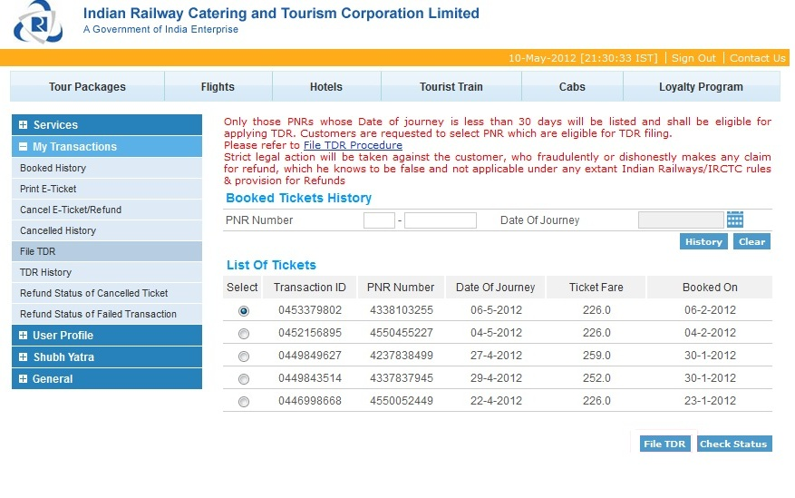 IRCTC TDR Filing [Step 1]