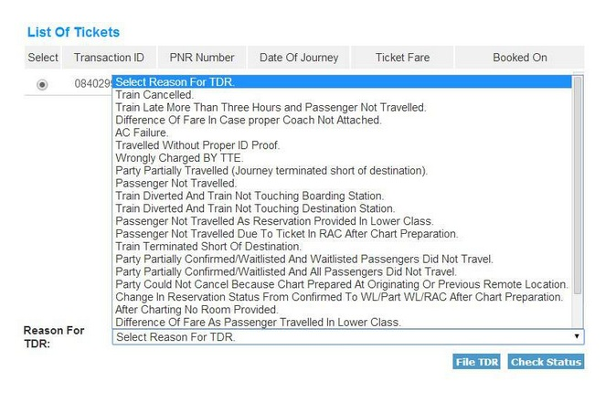IRCTC TDR Filing [Step 2]