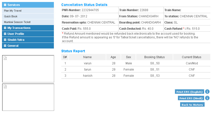 IRCTC Ticket Cancellation [Step 4]