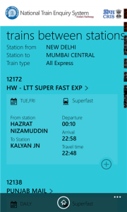 IRCTC App for Finding Train Between Stations