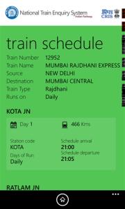 IRCTC App for Train Schedule