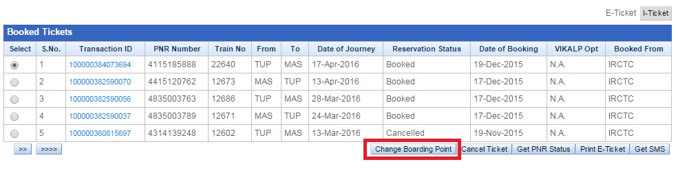 Select the train that you want to change boarding Point Online