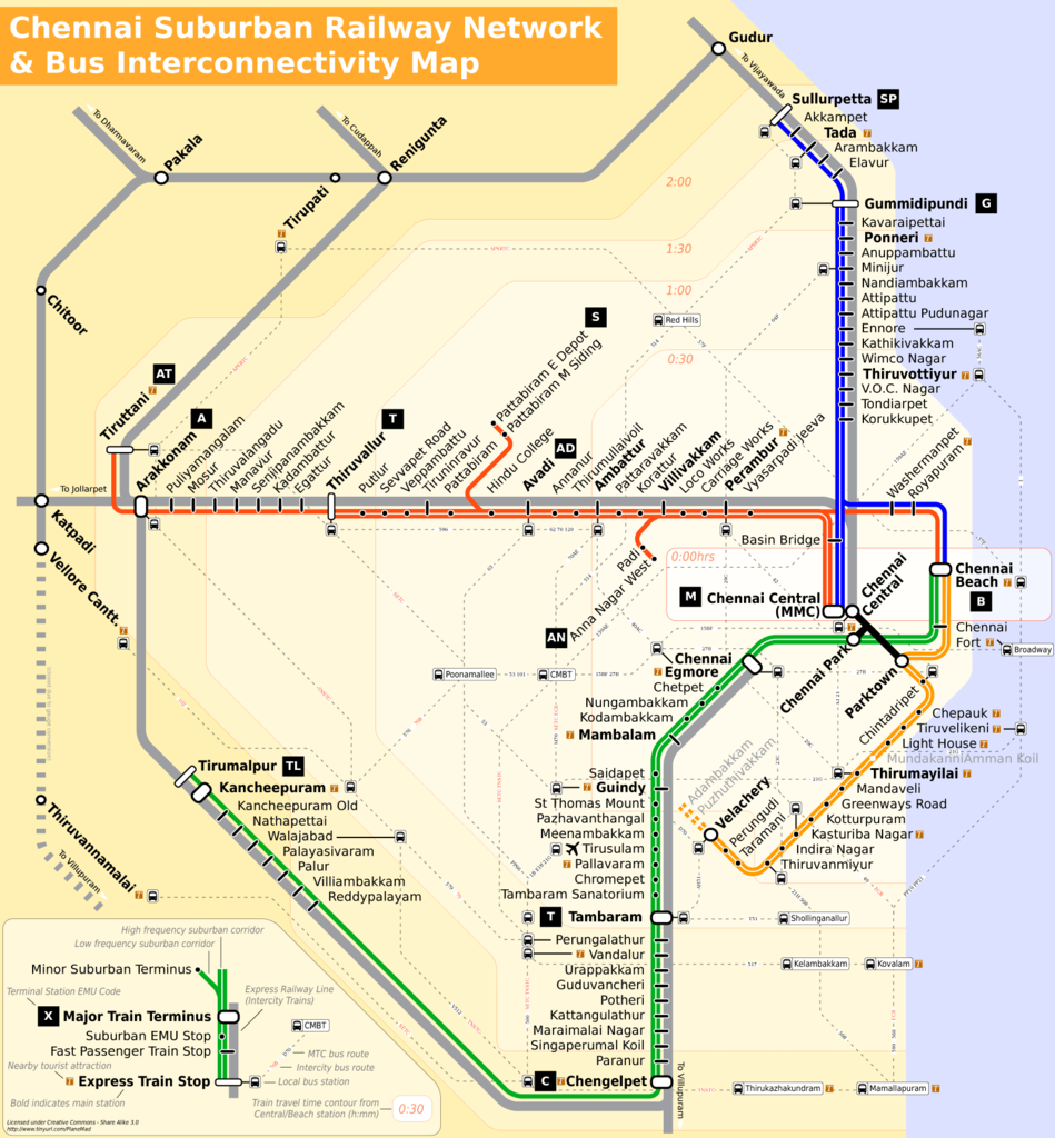 Chennai Local Train Route Map