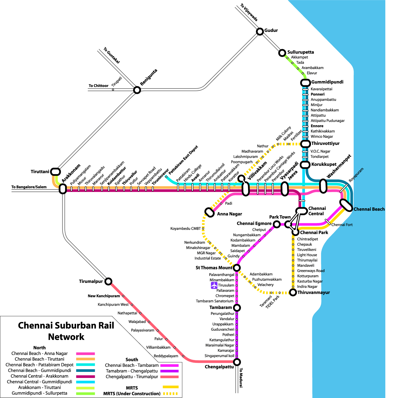Chennai Suburban Train Route Map