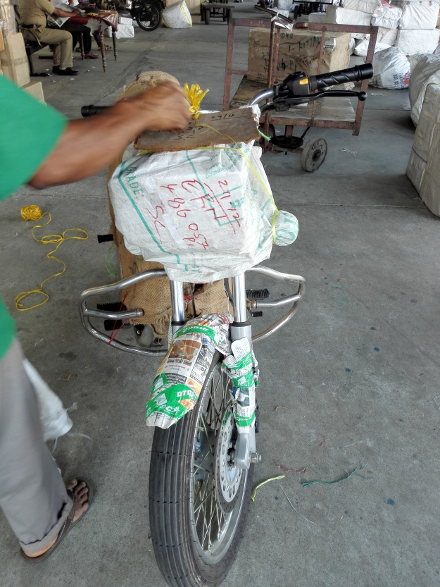 Packed Parcel Bike to transport in train