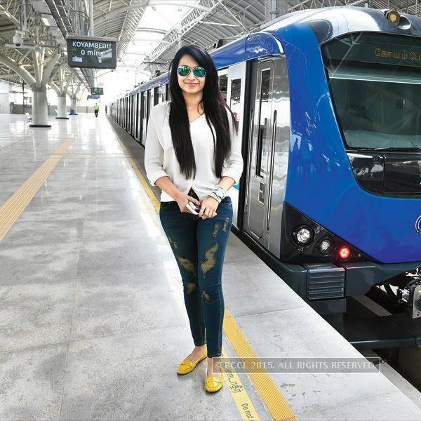 Trisha Posing In Front of Chennai Metro Train