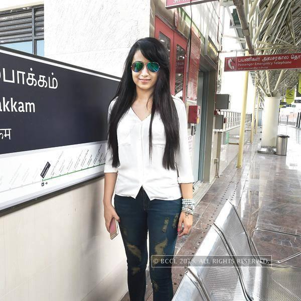 Trisha Posing in Arumbakkam Chennai Metro Train Station