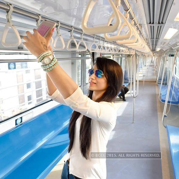 Trisha Taking Selfie in Chennai Metro Train