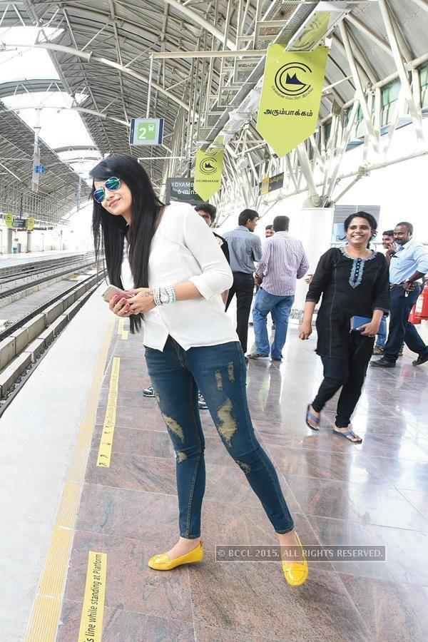 Trisha Waiting for Chennai Metro Train