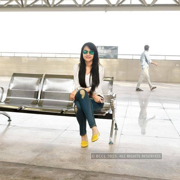Trisha at Alandur Chennai Metro Railway station