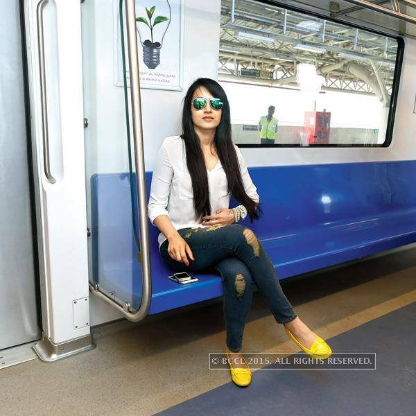 Trisha on Chennai Metro Train