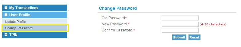 IRCTC Change Password Option
