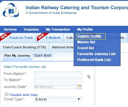 How To Update User Profile In Irctc